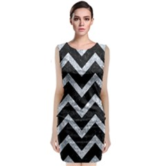 Chevron9 Black Marble & Gray Marble Classic Sleeveless Midi Dress by trendistuff
