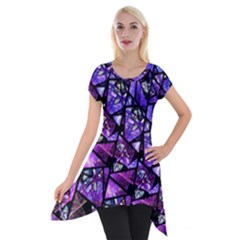 Blue Purple Shattered Glass Short Sleeve Side Drop Tunic