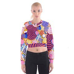Canddy Color Women s Cropped Sweatshirt by AnjaniArt