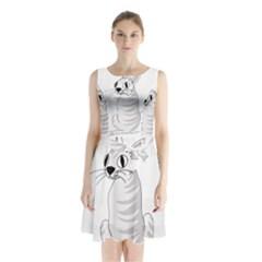 White Cat  Sleeveless Chiffon Waist Tie Dress by Valentinaart