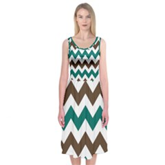 Green Chevron Midi Sleeveless Dress
