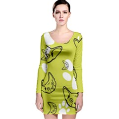 Face Cat Green Long Sleeve Bodycon Dress