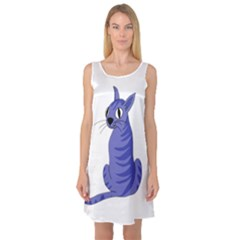 Blue Cat Sleeveless Satin Nightdress by Valentinaart