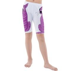 Purple Cat Kids  Mid Length Swim Shorts by Valentinaart