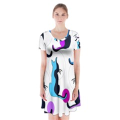 Purple Abstract Cats Short Sleeve V Neck Flare Dress by Valentinaart