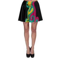 Colorful Abstract Cat  Skater Skirt by Valentinaart