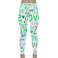Love Pattern - Green And Blue Classic Yoga Leggings by Valentinaart