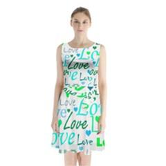 Love Pattern   Green And Blue Sleeveless Chiffon Waist Tie Dress by Valentinaart