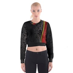 Black Red Yellow Women s Cropped Sweatshirt by AnjaniArt