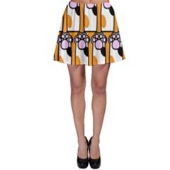 Cute Cat Hand Orange Skater Skirt by AnjaniArt