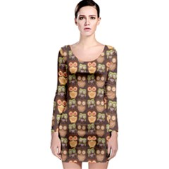 Eye Owl Line Brown Copy Long Sleeve Bodycon Dress by AnjaniArt