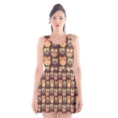 Eye Owl Line Brown Copy Scoop Neck Skater Dress by AnjaniArt