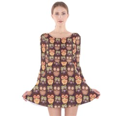 Eye Owl Line Brown Copy Long Sleeve Velvet Skater Dress by AnjaniArt