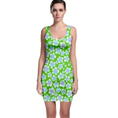 Flower Green Copy Sleeveless Bodycon Dress by AnjaniArt
