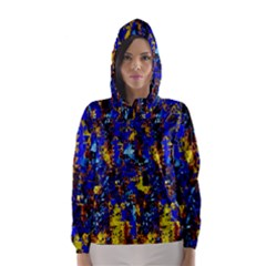 Network Blue Color Abstraction Hooded Wind Breaker (women) by AnjaniArt