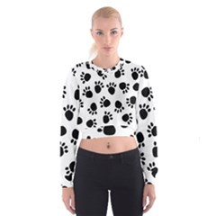Paws Black Animals Women s Cropped Sweatshirt by AnjaniArt