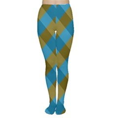 Plaid Line Brown Blue Box Women s Tights by AnjaniArt