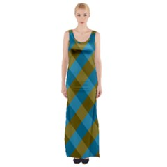 Plaid Line Brown Blue Box Maxi Thigh Split Dress by AnjaniArt
