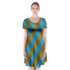 Plaid Line Brown Blue Box Short Sleeve V Neck Flare Dress by AnjaniArt