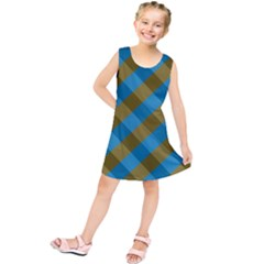 Plaid Line Brown Blue Box Kids  Tunic Dress by AnjaniArt