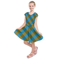 Plaid Line Brown Blue Box Kids  Short Sleeve Dress by AnjaniArt