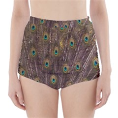 Purple Peacock Feather Wallpaper High Waisted Bikini Bottoms by AnjaniArt