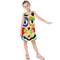 Colorful Cat Kids  Sleeveless Dress by Valentinaart