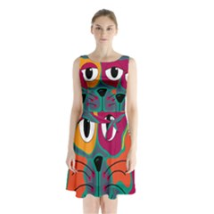 Colorful Cat 2  Sleeveless Chiffon Waist Tie Dress by Valentinaart