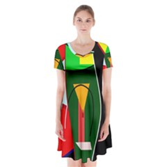 Abstract Lady Short Sleeve V Neck Flare Dress by Valentinaart