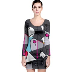Abstract Bird Long Sleeve Bodycon Dress by Moma