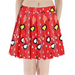 Rainy Day   Red Pleated Mini Skirt