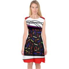 Color Tv Capsleeve Midi Dress