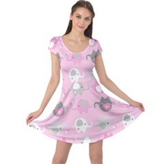 Animals Elephant Pink Cute Cap Sleeve Dresses