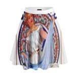 Alfons Mucha 1897 Bleu Deschamps High Waist Skirt