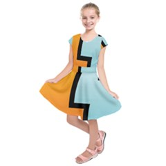 Two Fafe Orange Blue Kids  Short Sleeve Dress