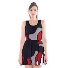 Red Creativity 2 Scoop Neck Skater Dress by Valentinaart