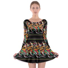 Colorful Barbwire  Long Sleeve Skater Dress by Valentinaart
