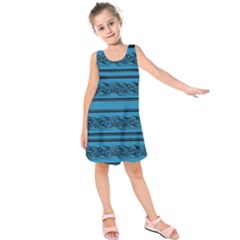 Blue Barbwire Kids  Sleeveless Dress by Valentinaart