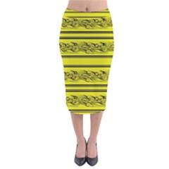 Yellow Barbwire Velvet Midi Pencil Skirt by Valentinaart