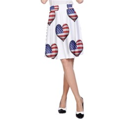 Usa Grunge Heart Shaped Flag Pattern A Line Skirt by dflcprintsclothing