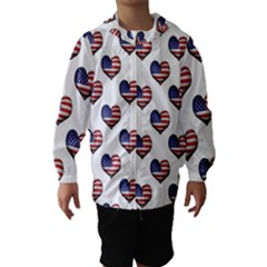 Usa Grunge Heart Shaped Flag Pattern Hooded Wind Breaker (kids) by dflcprintsclothing