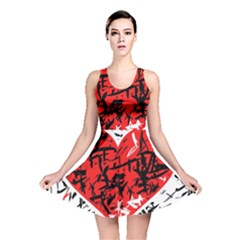 Red Hart   Graffiti Style Reversible Skater Dress by Valentinaart