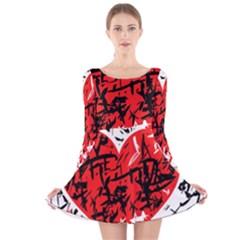 Red Hart   Graffiti Style Long Sleeve Velvet Skater Dress by Valentinaart