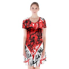 Red Hart - Graffiti Style Short Sleeve V-neck Flare Dress by Valentinaart