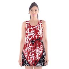 Red Graffiti Style Hart  Scoop Neck Skater Dress by Valentinaart