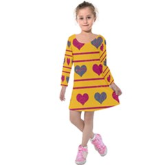 Decorative Harts Pattern Kids  Long Sleeve Velvet Dress by Valentinaart