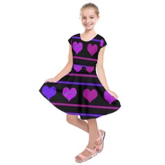 Purple And Magenta Harts Pattern Kids  Short Sleeve Dress by Valentinaart