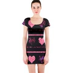 Pink Elegant Harts Pattern Short Sleeve Bodycon Dress by Valentinaart