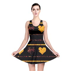 Yellow Harts Pattern Reversible Skater Dress by Valentinaart