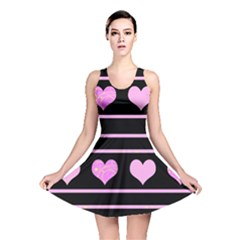 Pink Harts Pattern Reversible Skater Dress by Valentinaart